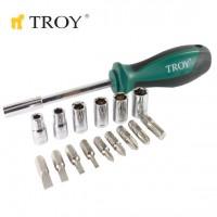 Комплект ръкохватка с битове и вложки TROY - 16 броя